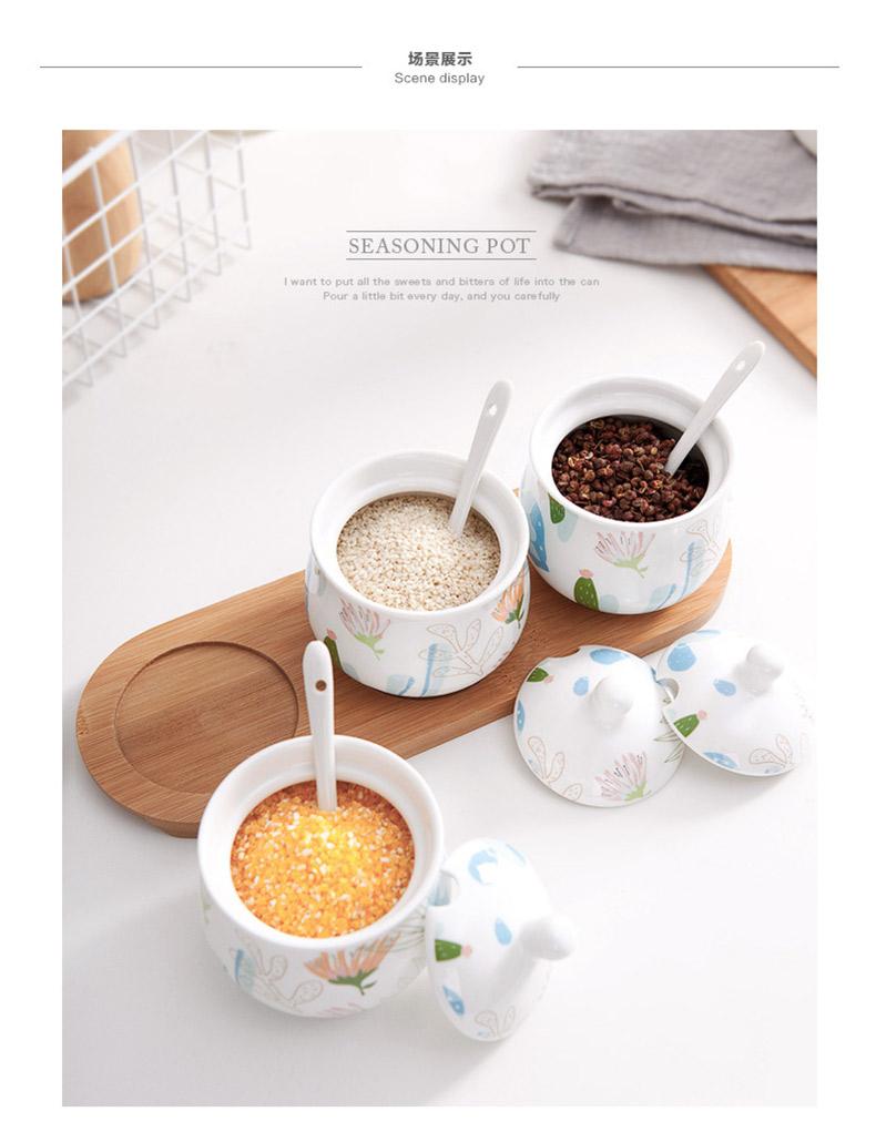 菊草紋調味料入れ7点セット 大容量 おしゃれ 陶器 スプーン付